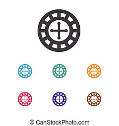 Vector Illustration Of Gambling Symbol On Roulette Icon. Premium Quality Isolated Fortune Element In Trendy Flat Style.