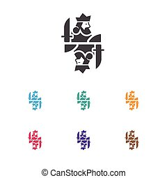 Vector Illustration Of Gambling Symbol On King Icon. Premium Quality Isolated Royal Element In Trendy Flat Style.