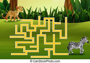Game leopard maze find their way to the zebra