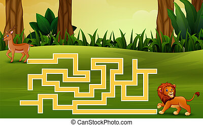 Game lion maze find their way to the deer