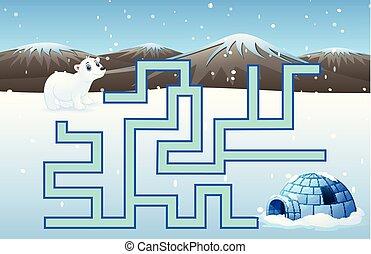 Game polar bears maze find their way to the iglo