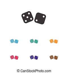 Vector Illustration Of Game Symbol On Dice Icon. Premium Quality Isolated Gambling Cube Element In Trendy Flat Style.