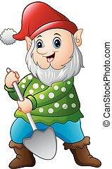 Garden gnome with a shovel
