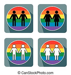 Vector illustration of gay couple symbol on white background.