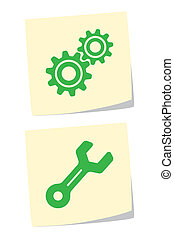 Gear and Wrench Icons - Vector Illustration of Gear and...