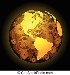 Gear earth background - Vector illustration of Gear earth...