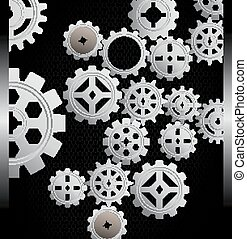Gears background on black backgroun