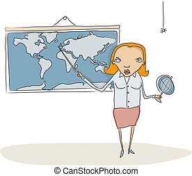 Geography teacher - Vector Illustration of Geography teacher...