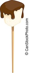 Vector illustration of ginger cookies with chocolate on a wooden stick on a white background. Sweet