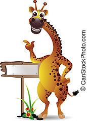 giraffe cartoon with blank board - vector illustration of...