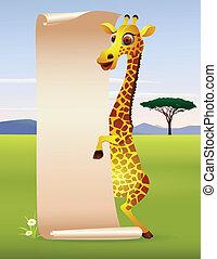 Giraffe cartoon with blank paper sc