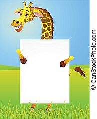 Giraffe with blank sign