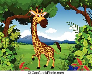 giraffe with forest background