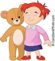 Girl cartoon a hugging a big teddy bear toy