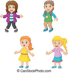 Girl cartoon collection set