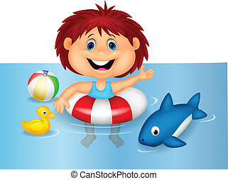 Girl cartoon floating with inflatab