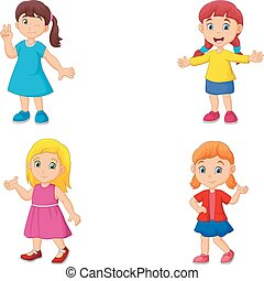Girl cartoon waving hand collection set