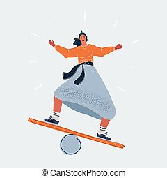 Vector illustration of girl doing balancing act on white background.