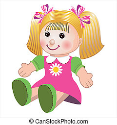 Blonde girl doll toy in colorful dress on white background