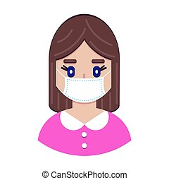 girl in protective medical mask