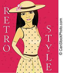 girl in retro dress