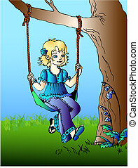 girl on swings - vector illustration of girl on swings