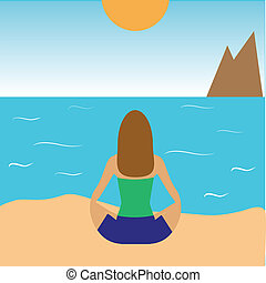 girl practicing yoga on the beach - vector illustration of...