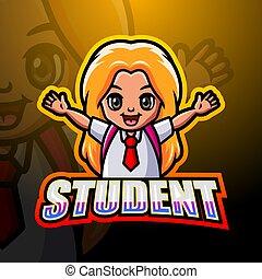 Girl student mascot logo design