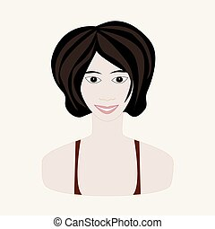 Vector illustration of girl with black hair and pale skin. Face of young woman. Winter seasonal color.