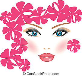Vector illustration of girl with fl