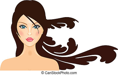 Vector illustration of girl with lo