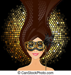 Vector illustration of girl with mask