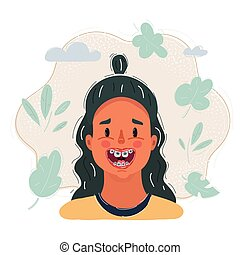 Vector illustration of girl with teeth with braces, close up