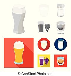 Vector illustration of glass and transparent icon. Set of glass and empty stock symbol for web.