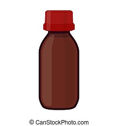 Vector illustration of glass bottle for medicine, cosmetics, chemistry. Cartoon flat style