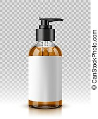 Vector illustration of glass cosmetic bottle with batcher