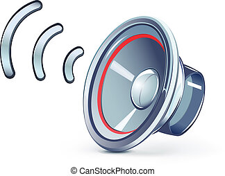 speaker icon - Vector illustration of glass transparently...