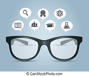 Glasses with education icons