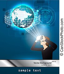 glasses with the virtual reality - Vector illustration of...