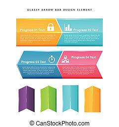 Vector illustration of Glassy Arrow Bar Design Element.