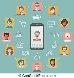 Vector illustration of global communication and social network with different people flat app icons.