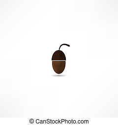 Vector illustration of glossy acorn on white background