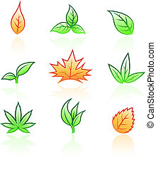 vector illustration of glossy leaves isolated on a white background