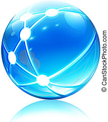 Vector illustration of glossy sleek and shiny network sphere icon