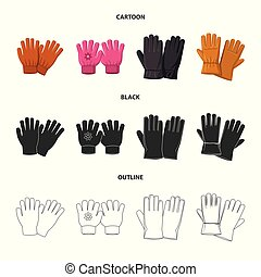 Vector illustration of glove and winter symbol. Collection of glove and equipment vector icon for stock.