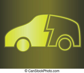 Vector illustration of glowing hybrid car symbol