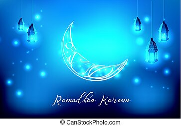 Glowing ornate crescent with hanging lantern - Vector...