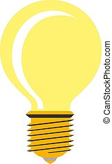 Vector illustration of glowing yellow light bulb