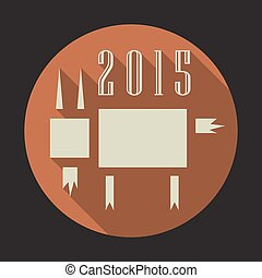 Vector illustration of goat, symbol of 2015 on the Chinese calendar. Silhouette of goat in flat design style. Vector element for New Year's design. Image of 2015 year of the goat.