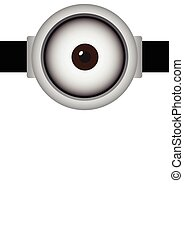 Vector illustration of goggle with cyclops on bright gray color background.